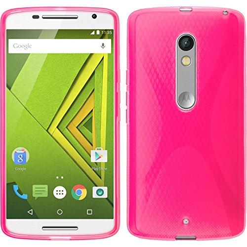 PhoneNatic Case für Motorola Moto X Play Hülle Silikon pink, X-Style + 2 Schutzfolien