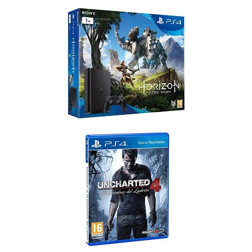 PlayStation 4 (PS4)- Consola De 1 TB + Horizon Zero Dawn, Color Negro + Uncharted 4: El Desenlace Del Ladrón
