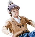 YiyiLai Kinder Junge Mädchen Winter Mütze Fliegermützen Pilot Flieger Mütze Hut Mit Fussel S Kaffeebraun