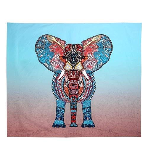 ayuxin Tapiz de Elefante Color Impreso Mandala Decorativa Tapiz Boho Indio Alfombra de Pared Decoración del hogar