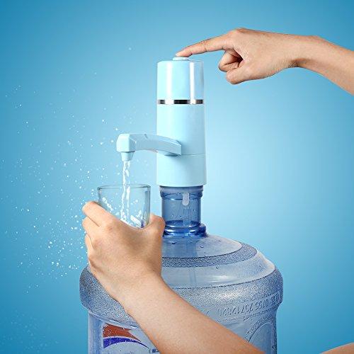 Haofy USB Wireless Wiederaufladbare elektrische Flasche Trinkwasser Pumpe Dispenser Filter(Blue)