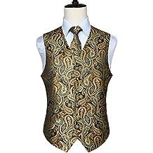 743628bb50b8a1 HISDERN Herren Klassische Paisley Floral Jacquard Weste & Krawatte und  Einstecktuch Weste Anzug Set