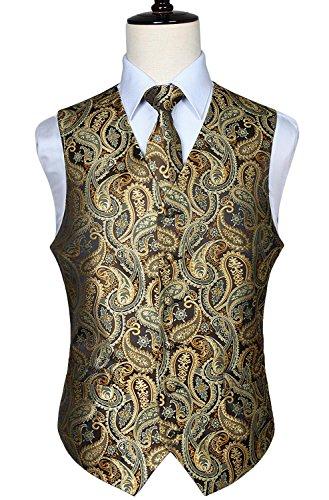 Hisdern Manner Paisley Floral Jacquard Weste & Krawatte und Einstecktuch Weste Anzug Set (Anzug Floral)