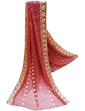 Vendimia Indio Dupatta Georgette Tela Étnica Bollywood Chal De Color Rosa Diseñador Bordado Estola