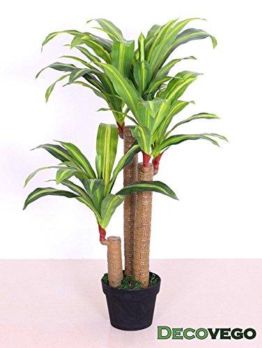 Decovego Drachenbaum Kunstpflanze Kunstbaum Künstliche Pflanze mit Topf 100cm