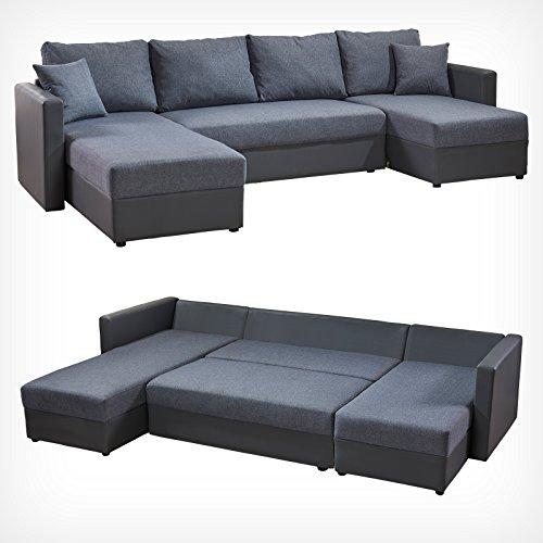 XXL Sofa mit Schlaffunktion Ecksofa Schlafsofa Couch Polstereck Sofabett Grau