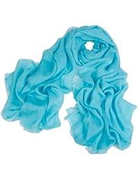 Pure Sky Blue Ladies Silk Shawl Scarves, 180 * 110 cm
