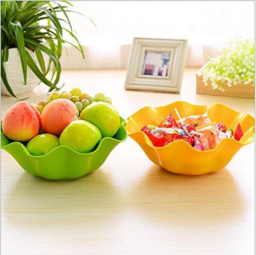 asentechuk® Thicken plástico con forma de flor fruta aperitivos Plato de verduras Plato Tazón cocina salón Suministros amarillo