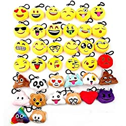 JZK® 38pcs mini juguete de peluche, emoji llavero emoticonos llavero emoción para niños & adulto fiesta de cumpleaños favores rellenos del bolso del partido, decoraciones para fiestas ( 5cm / 2 pulgadas)