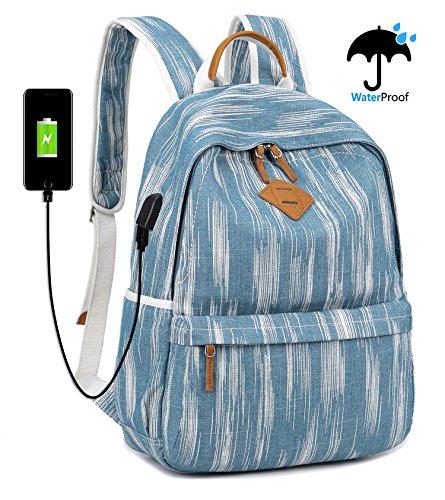 """EverVanz Weinlese Segeltuch Schule wandernder beiläufiger Rucksack im Freienrucksack für 12 bis 15"""" Zoll Laptop"""