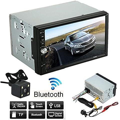 POTOBrand 7 pulgadas HD 1080p doble 2 Din coche estéreo FM/MP5 MP3 TF card Player Radio Bluetooth USB AUX + cámara de