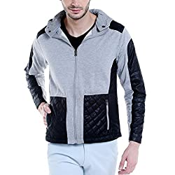 Campus Sutra Mens Cotton Jacket (Azw17L_Jkldrpkz_M_Pln_Grbl_Az_S_Grey::Black_Small)