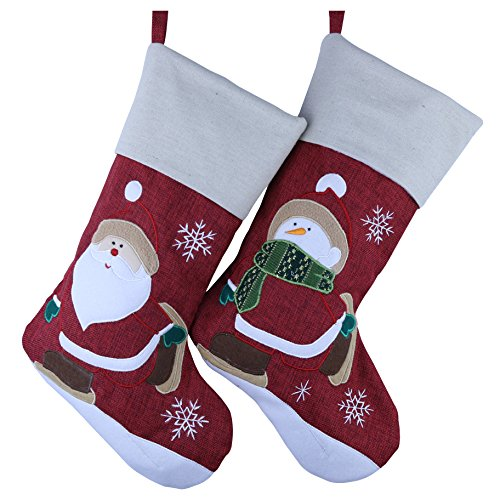 Wewill marca Classic Christmas Stockings Set di 2 Santa, Snowman Xmas Character 17-Inch/ 45CM