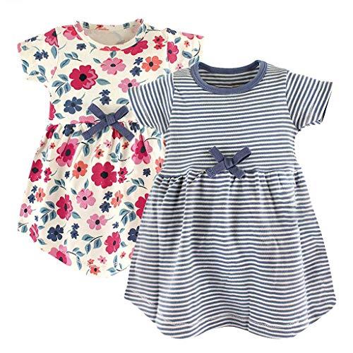 KIMODO Baby Mädchen Kleid gestreifter Blumen Druck Kurzarm Kleid Urlaub Sommer Strandkleid Kleinkind Prinzessin Kleidung Outfit 2PC (Blush-kleid-blumen-mädchen)