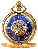 KS Reloj de Bolsillo con Cadena Hombres Antiguos Steampunk Esqueleto Mecánico con Caja de Regalo Color Dorado KSP073