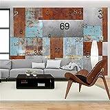 WEMUR Carta da parati in stile vintage con piastra in ferro, stile industriale, fondo divano, 350X245 CM (137,8 Per 96,5 pollici)
