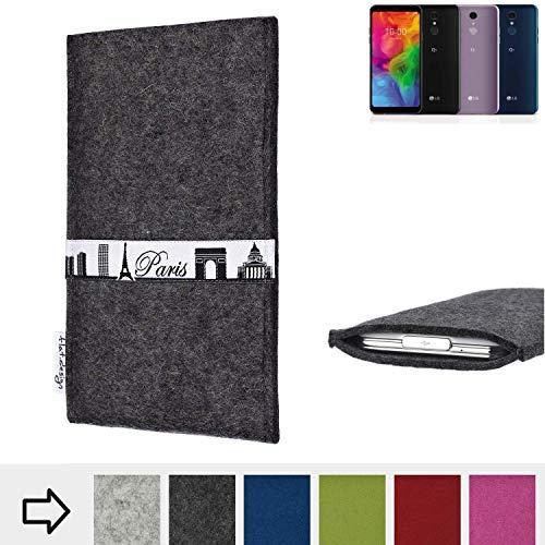flat.design für LG Electronics Q7 Alfa Schutzhülle Handy Case Skyline mit Webband Paris - Maßanfertigung der Schutztasche Handy Hülle aus 100% Wollfilz (anthrazit) für LG Electronics Q7 Alfa