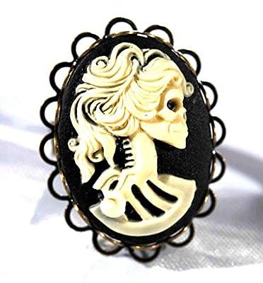 bague camée femme crane squelette tête de mort lolita skull rockabilly noir et blanc ovale dentelle vintage 18x25mm cabochon steampunk punk rock gothique réglable bronze bijoux fantaisie original