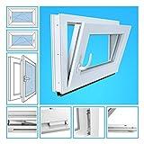 Kellerfenster Kunststoff Fenster Garagenfenster - 2-Fach Verglasung, BxH 40x100 cm, DIN rechts - Beidseitig Weiß