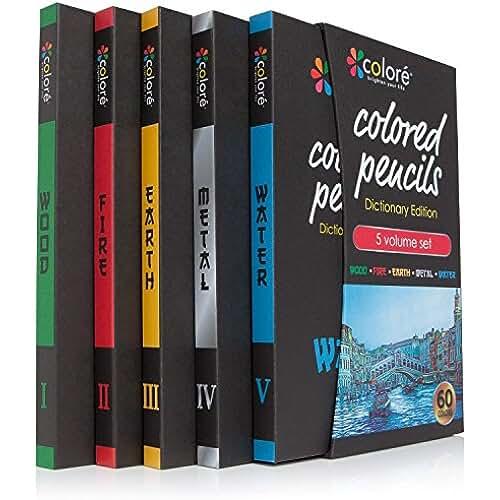mas dibujos kawaii Lápices de colores Colore Edición Diccionario – Set de 60 Lápices de Colores Premium Pre-Afilados – Gran Suplemento Artístico para Niños y Adultos – 60 Colores Brillantes