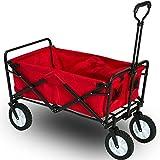 Flieks® Faltbarer Bollerwagen klappbar Handwagen, Transportwagen Gartenwagen Strandwagen, 360 ° drehbar, Schwarz / Rot (Rot)