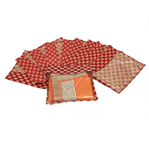 Kuber Industries™ Brocade Saree Cover/Salwar Suit Cover/Packing Cover Pack of 10 Pcs...