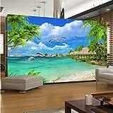 WEILAIWUWEI Papel Pintado Fotomurales, Tela De Seda Papel Pared Autoadhesivo, Inicio Papel Pintado Pared, Playa 3D con Cocoteros, 260x180cm
