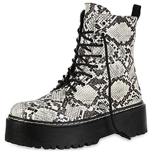 SCARPE VITA Damen Plateau Stiefeletten Worker Boots Profilsohle Stiefel 174765 Creme Snake 39