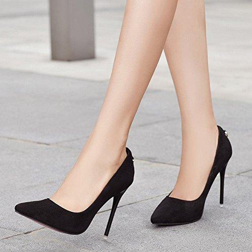 Chaussures Simple UH Aiguille Partie Femmes Elegantes Bout Haut a Pointu Pour Talon Sexy Noir HCxwTx5qY