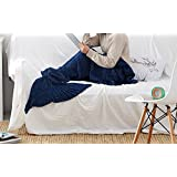 "ChezMax Knitting Wool Mermaid Tail Blanket Soft Thick Sleeping Bag For Living Room Birthday Christmas Gift For Girls Navy Blue 31.5""x 70.9"""
