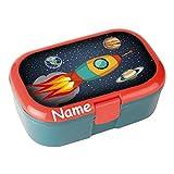 Lunchbox * RAKETE plus WUNSCHNAME * für Kinder von Lutz Mauder // Weltraum Brotdose mit Namensdruck // Perfekt für Mädchen & Jungen // Vesperdose Brotzeitbox Brotzeit (mit Namen)