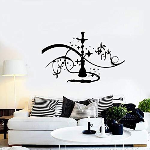 wassaw Wasserpfeife Wandaufkleber Shisha Zeichen Wand Fenster Vinyl Aufkleber Palm Mit Sternen Rauchen Hause Schlafzimmer Aufkleber Kunstwand 91X57 cm B -