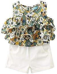 ALLAIBB Niña niños Chaleco de Flores Camisa con Volantes Pantalones Cortos  Blanco Verano ... a47b648b4c81
