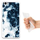 WoowCase Cubot X15 Hülle, Handyhülle Silikon für [ Cubot X15 ] Weißer & Blauer Marmor Handytasche Handy Cover Case Schutzhülle Flexible TPU - Transparent