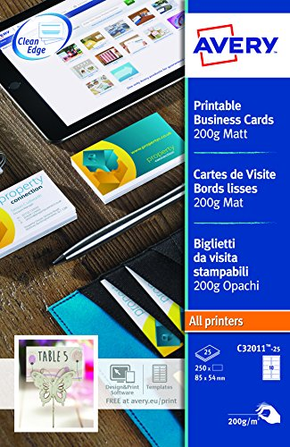 Avery italia c32011-25 biglietto da visita, stampabile, 10 biglietti per foglio, confezione da 25 pezzi, bianco