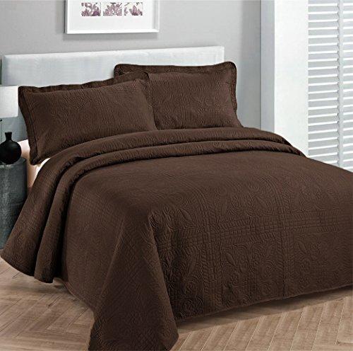 Linen Plus Übergroße Luxus-Tagesdecke für Doppelbetten, extra lang, Braun (Bettdecken Zwilling-jungen)
