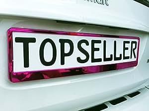 2 x Kennzeichenhalter Nummernschildhalter Pink Chrom Metallic Autozubehör Auto