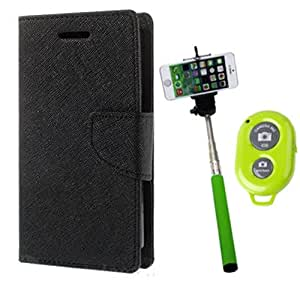 Aart Fancy Diary Card Wallet Flip Case Back Cover For Redmi 1s -(Black) + Remote Aux Wired Fashionable Selfie Stick Compatible for all Mobiles Phones By Aart Store