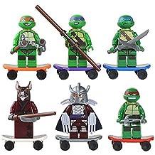 Las tortugas ninja figuras articuladas bloques personajes y patinetes Donatello Raphael Michel Angelo Leonardo Splinter Shredder 4646