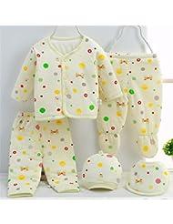 SHISHANG Set de 5 piezas Baby Gift Box bebé puro de algodón Suit Boy Chico Adecuado para 0-3 meses Caja de regalo recién nacido Pure Cotton (100%) Paquete de regalo de cuatro estaciones Rosa Amarillo luz azul , 59cm