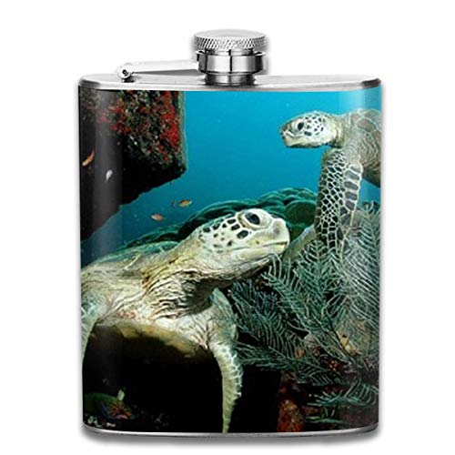 Stainless Steel Flask Perfect Sea Turtle Stainless Steel Hip Flask 7 OZ - Sneak Alcohol Anywhere for Man,Woman Fleece-turtle