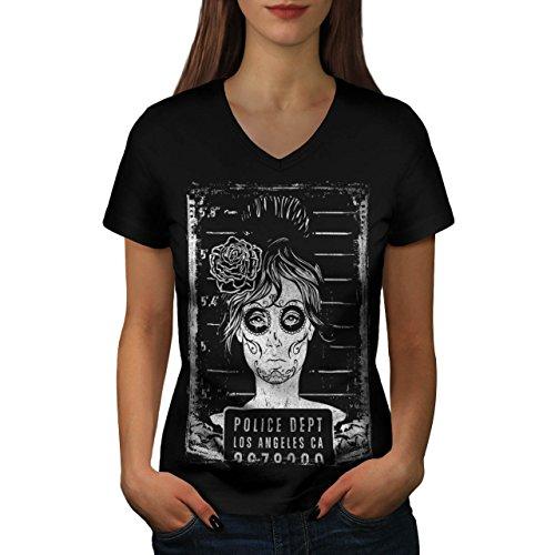 LA Polizei Dept Zombie LA Mädchen Damen M V-Ausschnitt T-shirt | (Für Kostüm Kinder Indische Polizei)