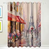 Coosun Peinture à l'huile Paris Tour Eiffel Rideaux occultant occultant Isolation thermique Polyester Grommet Top Store Rideau pour chambre à coucher, salon, 2Panel (55W X 84L pouce)