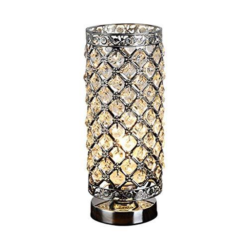 WPCBAA Zeitgenössische runde Kristall-Tischlampe mit poliertem Chrom-Finish, Schlafzimmer-Nachttischlampe, Schnittstelle E27 Silber -