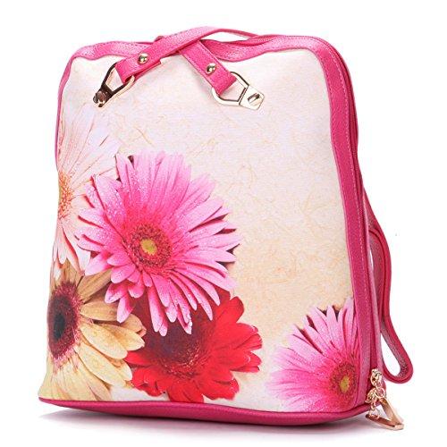 Eshow Damen Mädchen Canvas Freizeit Reise Sport Outdoor Uni Rucksack Tasche Rosa2