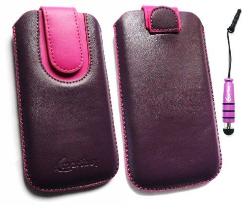 emartbuy ® Stylus Pack Für HTC Hero Purple/Pink Premium-Pu-Leder Slide In Pouch/Case/Sleeve/Holder (Größe Large) Mit Pull Tab Mechanism + Metallic Mini Purple Stylus + LCD Screen Protector Htc Hero Screen Protector