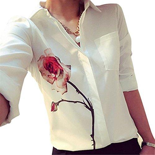 Damen Shirts, kimloog Long Sleeve Rose Flower Print Revers Chiffon Bluse Pocket Button Tops, KmG_AB0013, Casual, weiß, S (Pocket-leinen-tunika 2)