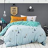 GAW Home Fashion 100% Baumwolle 4-pièces Bettbezug Bettwäsche-Set, König/Königin, (1Bettbezug, 1Bogen, 2Kopfkissenbezüge)