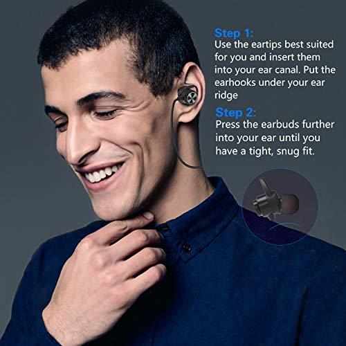 Auricolari Bluetooth, KOOHO E2 Wireless Stereo Ultraleggere Magnetico Cuffie, IPX6 Sportive Resistenti al Sudore, CVC6.0 Noise Cancelling, Disponibile per iPhone, iPad e Android (Nero)