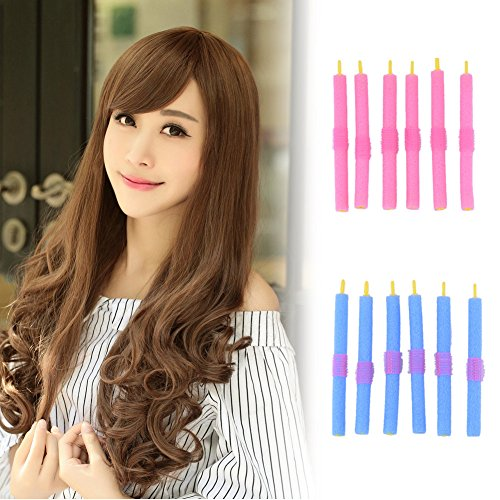 Generic Pink And Blue : 12Pcs Diy Modeling Soft Hair Rollers Curlers Foam Epe Bendy Hair Roller Curler Hair Care Freely Design Hairstyles